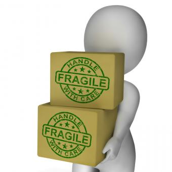 Free Stock Photo of Fragile Stamp On Boxes Showing Breakable Or Delicate Products
