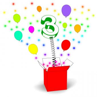 Free Stock Photo of Number Three Surprise Box Means Celebration And Colourful Balloons