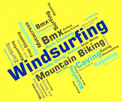 Free Stock Photo of Windsurfing Word Means Water Sports And Sailboarding
