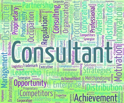 Free Stock Photo of Consultant Word Means Consulting Wordcloud And Authority