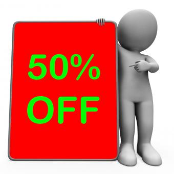 Free Stock Photo of Fifty Percent Off Tablet Character Means 50 Reduction Or Sale Online
