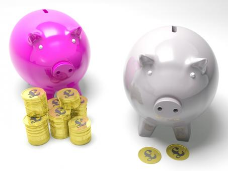 Free Stock Photo of Two Piggybanks Savings Show Britain Banking Accounts