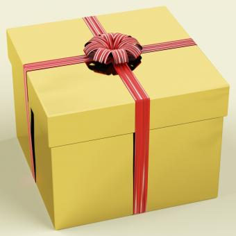 Free Stock Photo of Gold Gift Box With Ribbon As Birthday Present