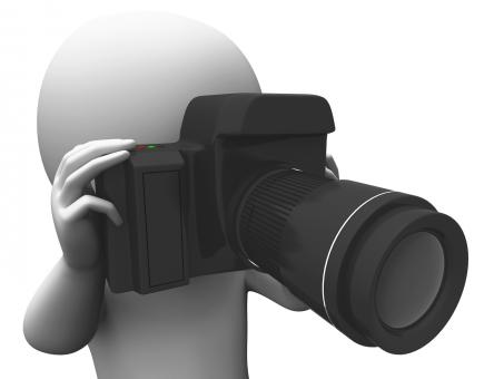 Free Stock Photo of Photography Character Shows Taking A Photo Dslr And Photograph