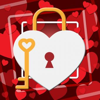 Free Stock Photo of Hearts Lock Indicates In Love And Adoration