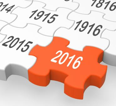 Free Stock Photo of 2016 Puzzle Piece Shows Expected Objectives