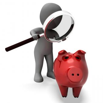 Free Stock Photo of Piggy Bank And Character Shows Savings Finances And Banking