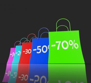 Free Stock Photo of Percent Reduced On Shopping Bags Shows Bargains