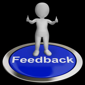 Free Stock Photo of Feedback Button Shows Opinion Evaluation And Surveys