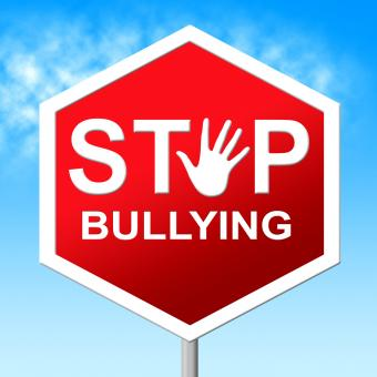 Free Stock Photo of Stop Bullying Shows Push Around And Caution