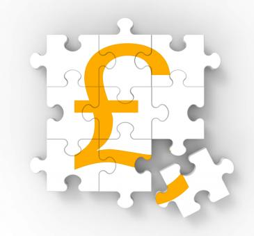 Free Stock Photo of Pound Puzzle Showing Great Britain Banking Status