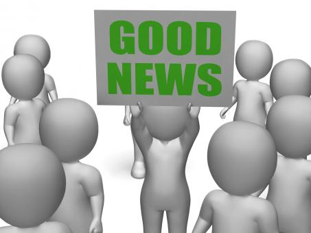 Free Stock Photo of Good News Board Character Means Receiving Great News