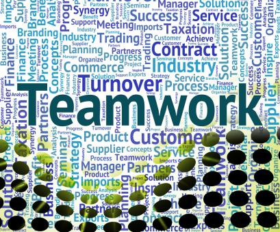 Free Stock Photo of Teamwork Word Shows Organized Networking And Text