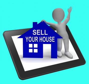 Free Stock Photo of Sell Your House Home Tablet Shows Putting Property On The Market