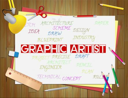 Free Stock Photo of Graphic Artist Shows Artists Illustrations And Designers
