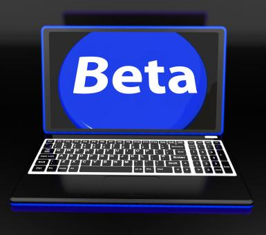 Free Stock Photo of Beta On Laptop Shows Online Demo Software Or Development
