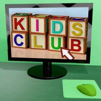 Free Stock Photo of Kids Club Blocks On Computer Shows Childrens Learning