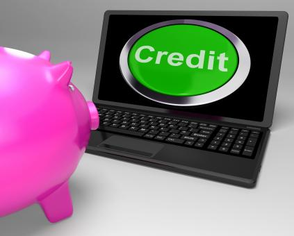 Free Stock Photo of Credit Button On Laptop Shows Financial Loan