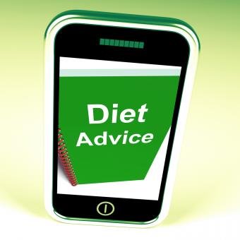 Free Stock Photo of Diet Advice on Phone Shows Healthy Diets
