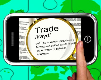 Free Stock Photo of Trade Definition On Smartphone Showing Exportation