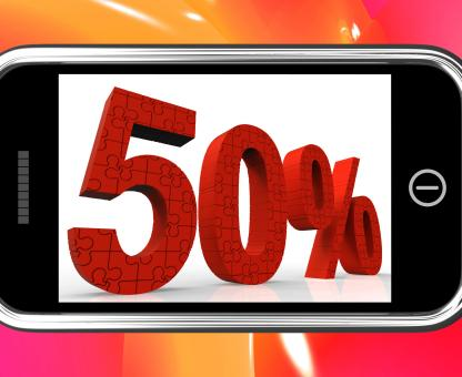 Free Stock Photo of 50 On Smartphone Showing Special Offers And Promotions