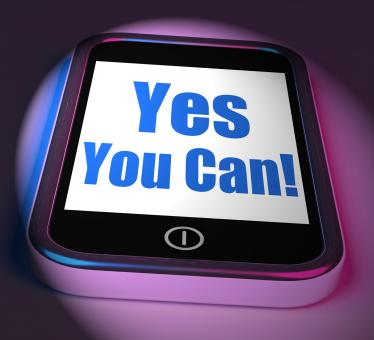 Free Stock Photo of Yes You Can On Phone Displays Motivate Encourage Success
