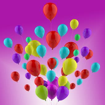 Free Stock Photo of Floating Colourful Balloons Show Cheerful Party Or Celebration