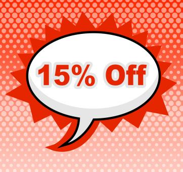 Free Stock Photo of Fifteen Percent Off Represents Promotion Closeout And Promotional