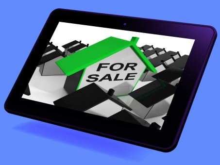 Free Stock Photo of For Sale House Tablet Means Real Estate On Market