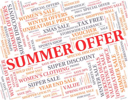 Free Stock Photo of Summer Offer Means Reduction Summertime And Season