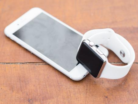 Free Stock Photo of White Apple Mobile and Watch