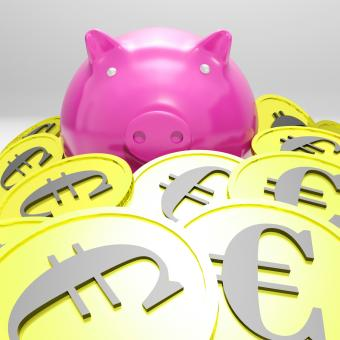 Free Stock Photo of Piggybank Surrounded In Coins Showing European Incomes