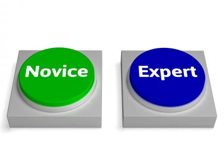 Free Stock Photo of Novice Expert Buttons Shows Beginner And Expertise