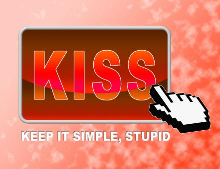 Free Stock Photo of Kiss Button Means Keep It Simple And Control