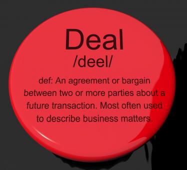Free Stock Photo of Deal Definition Button Showing Agreement Bargain Or Partnership