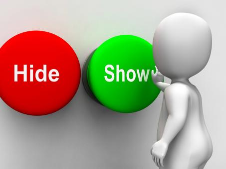 Free Stock Photo of Hide Show Buttons Means Seek Find Look Discover