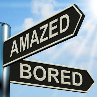 Free Stock Photo of Amazed Bored Signpost Shows Dull And Amazing