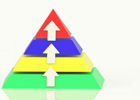 Free Stock Photo of Pyramid With Up Arrows And Copyspace Showing Growth Or Progress
