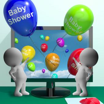 Free Stock Photo of Baby Shower Balloons From Computer Showing Birth Party Invitation