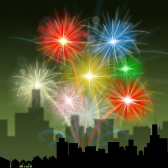 Free Stock Photo of Fireworks City Indicates Night Sky And Celebration