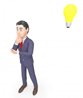 Free Stock Photo of Idea Lightbulb Means Think About It And Businessman 3d Rendering