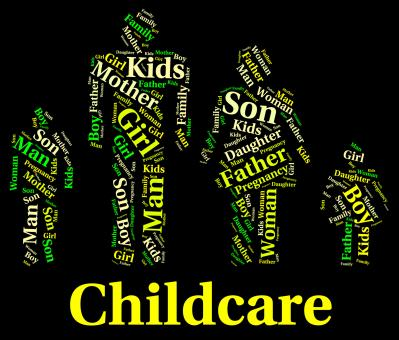 Free Stock Photo of Childcare Word Shows Supervising Nursery And Toddler