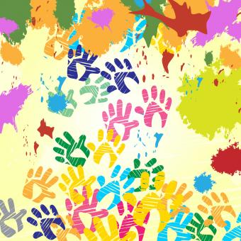 Free Stock Photo of Splash Handprints Indicates Colorful Blobs And Human