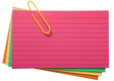 Free Stock Photo of Different Colored Blank Index Cards
