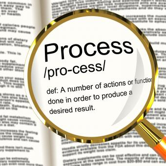 Free Stock Photo of Process Definition Magnified Showing Result From Actions Or Functions