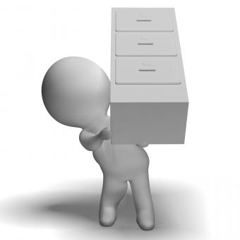 Free Stock Photo of Filing Cabinet Carried By 3d Character Shows Organization