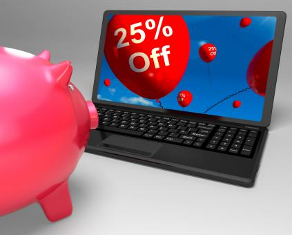 Free Stock Photo of Twenty-Five Percent Off On Laptop Shows Discounts