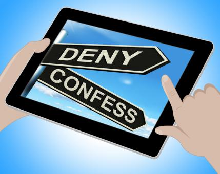 Free Stock Photo of Deny Confess Tablet Means Refute Or Admit To