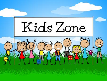 Free Stock Photo of Kids Zone Banner Indicates Playing Playtime And Youngster