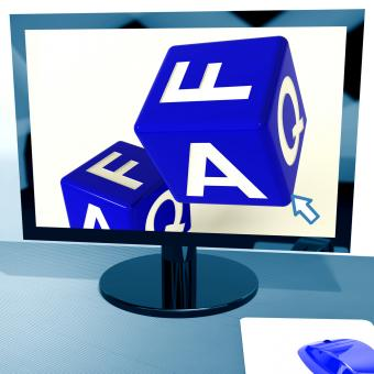 Free Stock Photo of Faq Dice On Computer Screen Showing Online Assistance